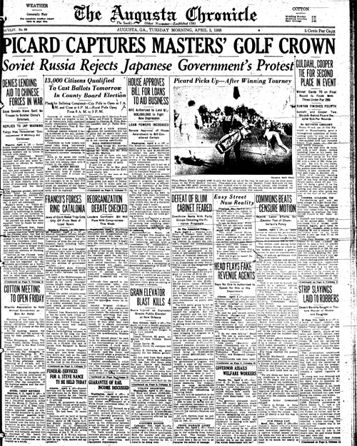 1938: Henry Picard battles the weather to win Masters