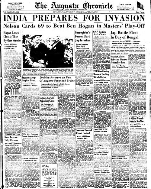 1942: Byron Nelson wins last Masters before World War II