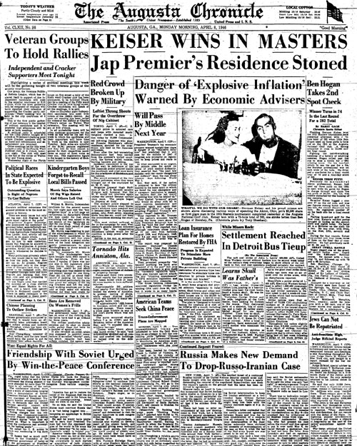 1946: Herman Keiser wins Masters in upset over Hogan