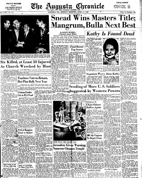 1949: Sam Snead is first Masters winner to earn Green Jacket