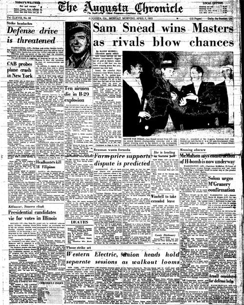 1952: Snead wins highest-scoring Masters