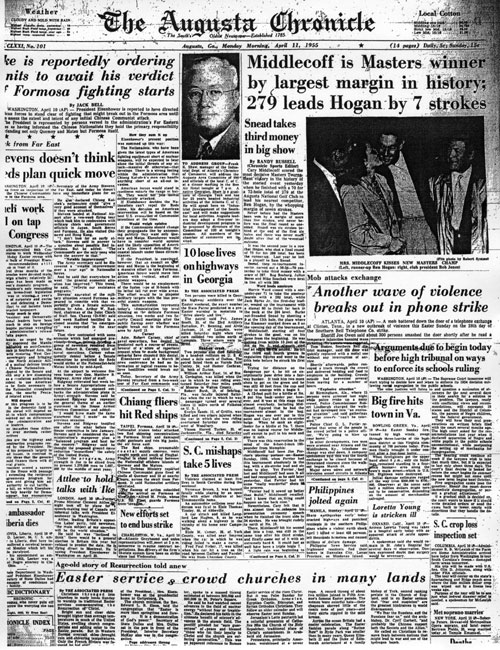 1955: Middlecoff wins first Masters, second major