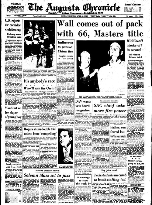 1959: Art Wall Jr. takes lead on 18 to win Masters