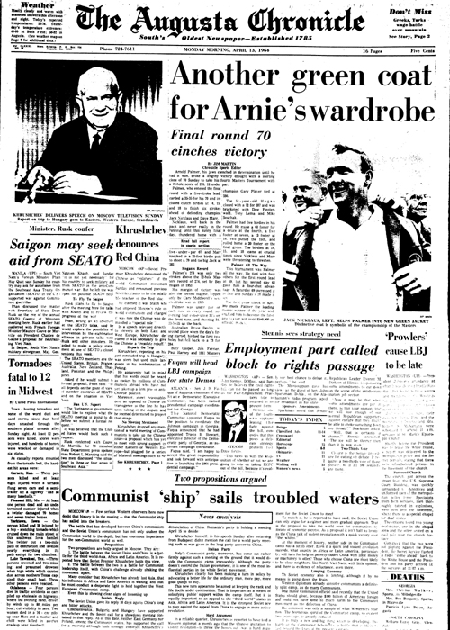 1964: Arnold Palmer cruises to Masters win
