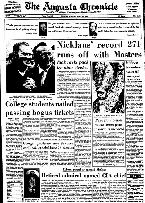 1965: Nicklaus wins by nine to shatter Masters record