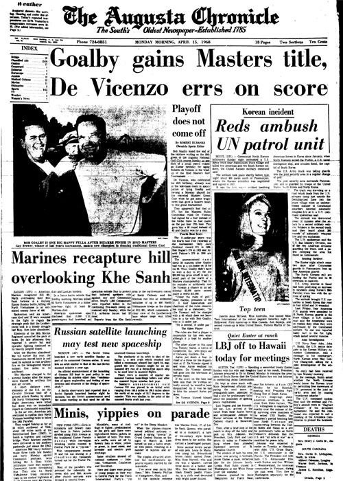 1968: De Vicenzo signs for wrong score, Goalby wins Masters