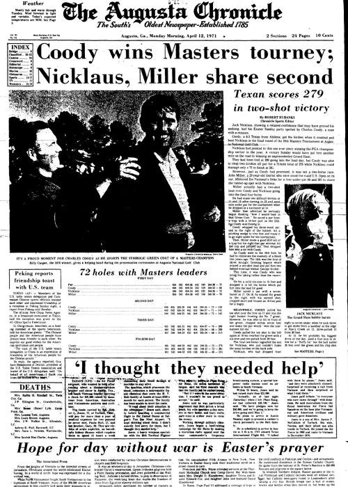 1971: Coody surprises field to win Masters