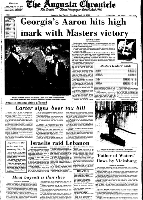 1973: Tommy Aaron wins first major at Masters