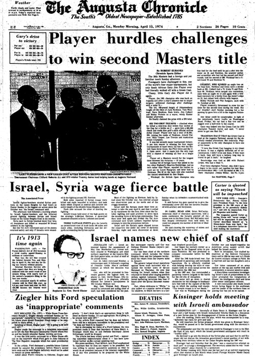 1974: Gary Player wins second of three Masters