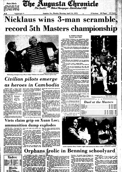 1975: Nicklaus wins fifth Masters as Elder breaks color barrier