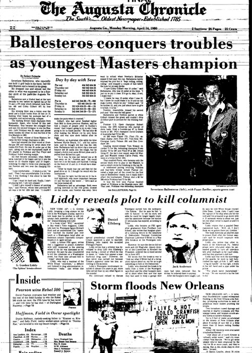 1980: Seve Ballesteros becomes youngest Masters champ