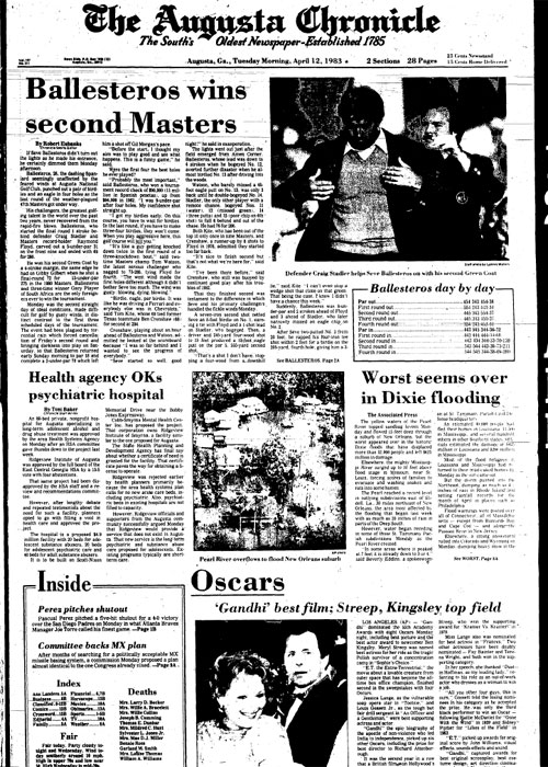 1983: Seve Ballesteros wins second Masters