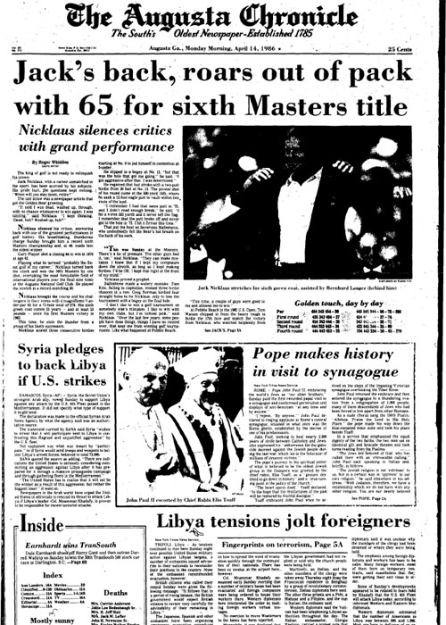 1986: Jack Nicklaus wins Masters with 30 on back nine