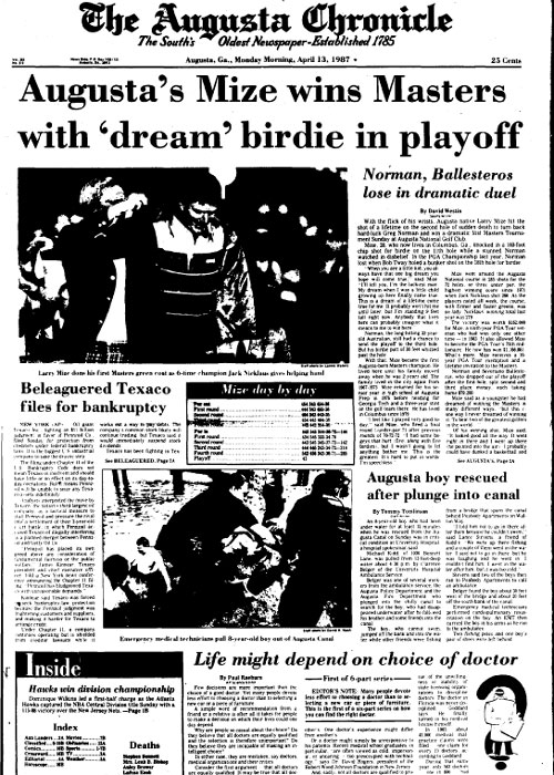 1987: Augusta native Larry Mize wins Masters