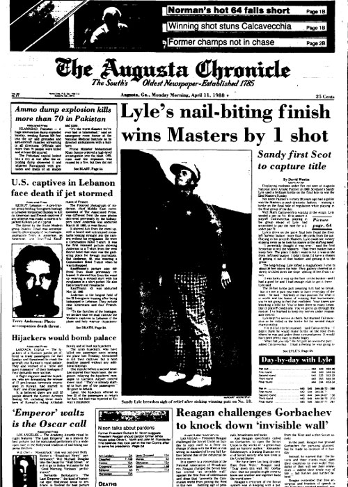 1988: Sandy Lyle first from Britain to win Masters