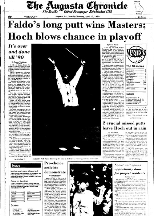 1989: Faldo wins first Masters in playoff over Hoch