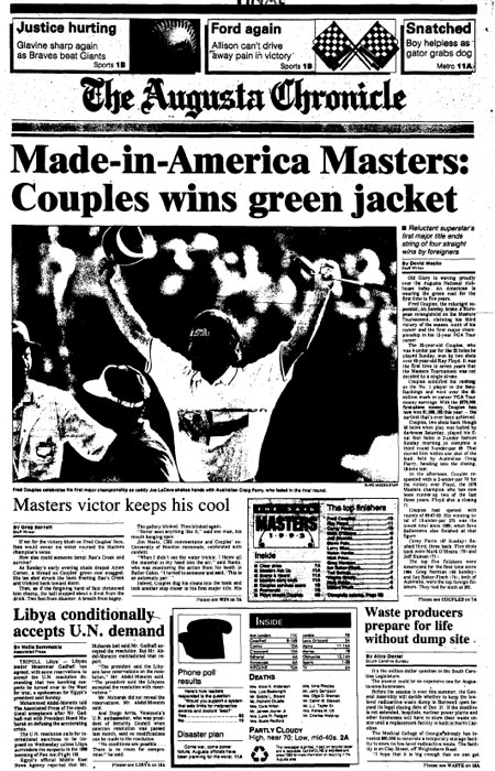 1992: Fred Couples survives errant shot to win Masters