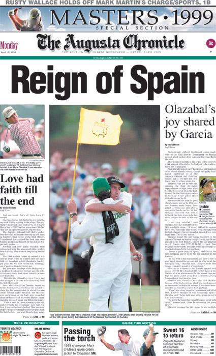 1999: Olazabal wins second Masters Green Jacket