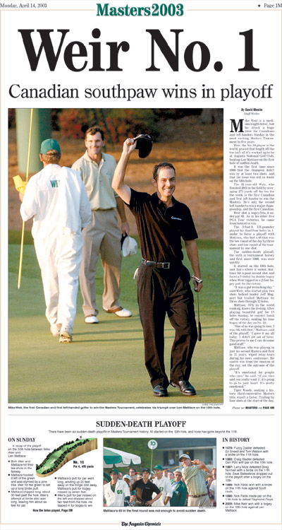 2003: Mike Weir wins Masters for Canada